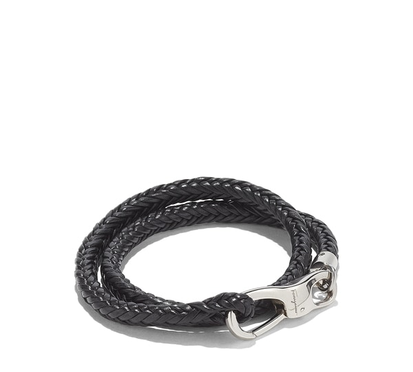Double Wrap Braided Leather Bracelet with Hook Closure