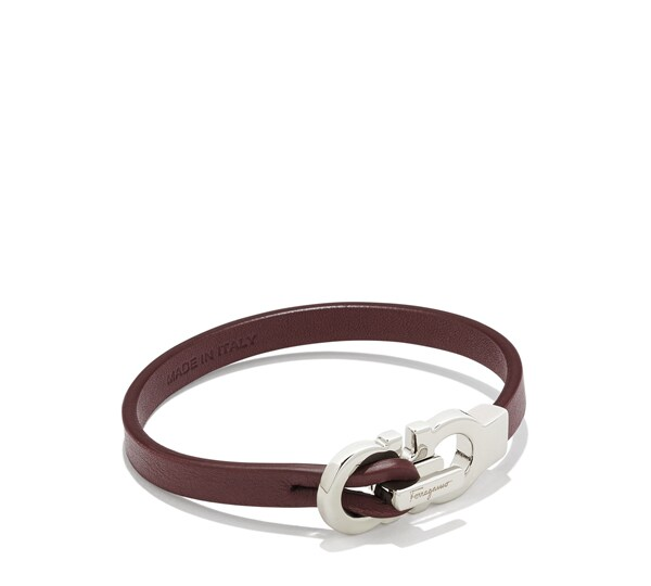 Gancini and Leather Closure Bracelet