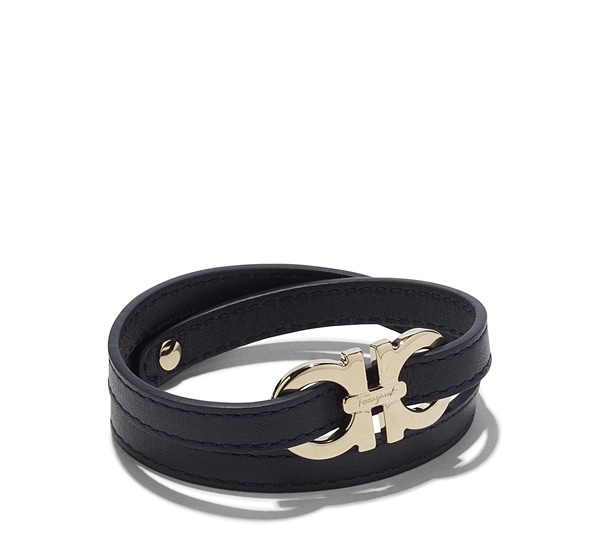 Double Wrap Leather Bracelet with Gancini