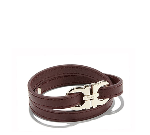 Double Wrap Calfskin Bracelet with Double Gancini