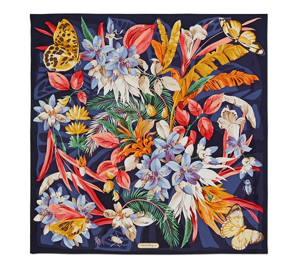 Butterfly and Floral Print Scarf