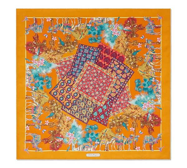 Camel and Oriental Rug Print Scarf