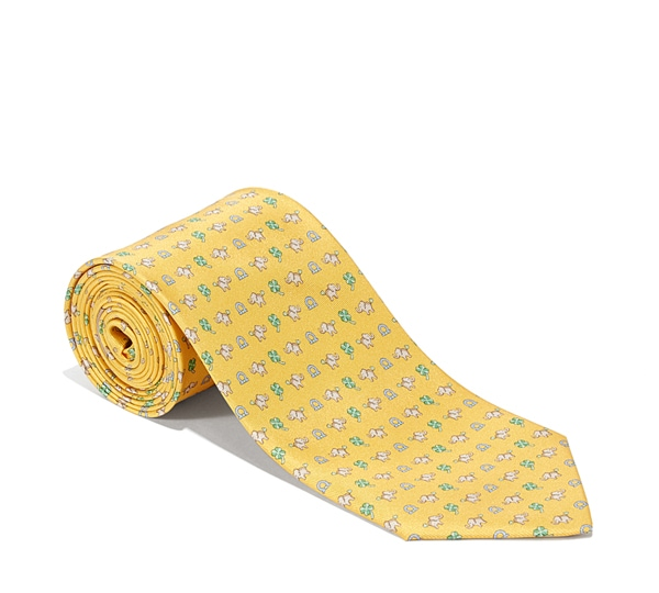 Elephant, Clover, and Gancini Printed Tie