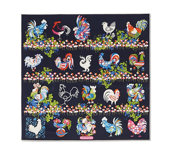 Roosters in Flowers Print Scarf