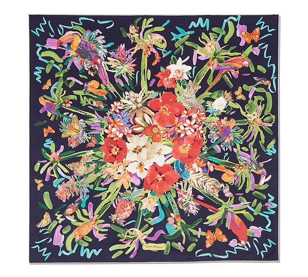 Tropical Animals with Butterflys Print Scarf