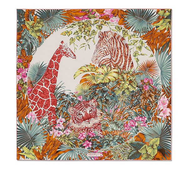 Animals in tropical jungle print scarf