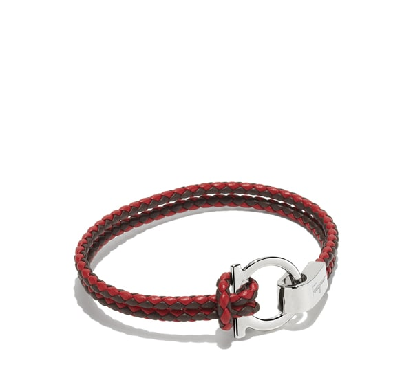 Bicolor double wrap bracelet with Gancio hook closure