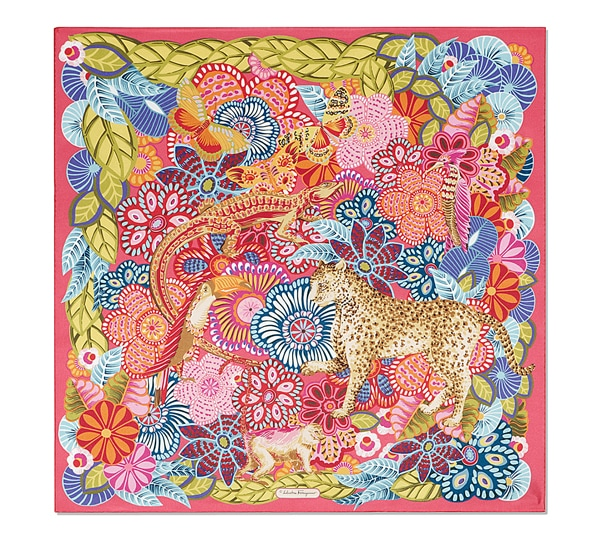 Paisley Jungle Animals and Flowers Print Scarf