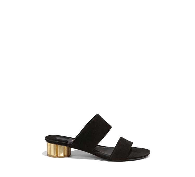 b7af1d25689 Two-Banded Flower Heel Sandal - Shoes - Women - Salvatore Ferragamo US