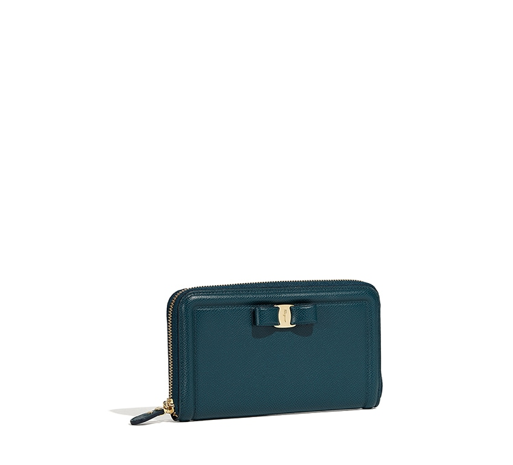 Vara Bow Zip Around Wallet by Salvatore Ferragamo